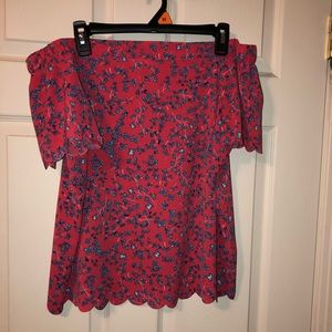 Pink with blue flowers off the shoulders blouse